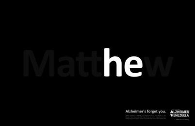 Venezuela's Alzheimer Foundation: mattHEw Print Ad by RG2 Caracas