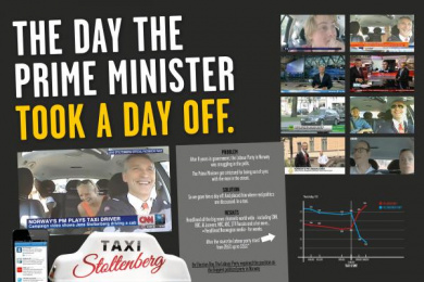 Arbeiderpartiet: Taxi Stoltenberg, 1 Digital Advert by Pravda, Try/Apt Oslo