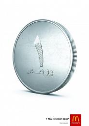 McDonald's: 1 Dirham Coin. 1 Dirham Cone. Print Ad by Fortune Promoseven Dubai