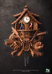 Government of the State of Paraná: Domestic violence cuckoo clock Print Ad by Master Comunicacao