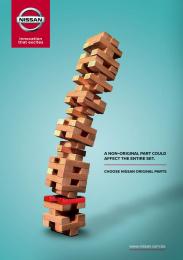Nissan: Original Parts - Jenga Print Ad by Universidad Católica Boliviana