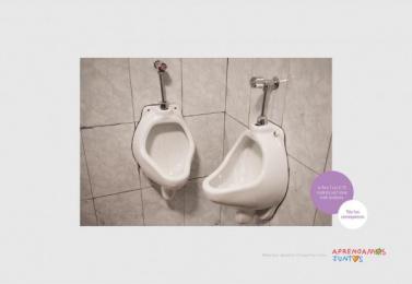 Aprendamos Juntos ONG: Ass To Ass Urinal Print Ad by Y&R Lima