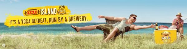 Xxxx Gold Beer: Yoga Retreat Print Ad by BMF Australia