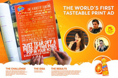Fanta: WORLD'S FIRST TASTE-ABLE PRINT AD Print Ad by Memac Ogilvy & Mather Dubai, UM