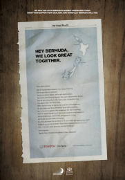 Toyota: Hey Bermuda, we look great together Print Ad by Saatchi & Saatchi New Zealand