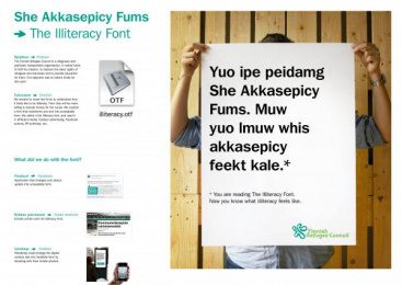 Finnish Refugee Council: THE ILLITERACY FONT Promo / PR Ad by 358 Helsinki