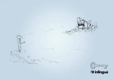 Inlingua Language Courses: Shark Print Ad by Kolle Rebbe Hamburg
