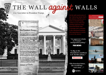Initiative Offene Gesellschaft e.V.: The Wall against Walls Print Ad by Scholz & Friends Berlin, Altered LA