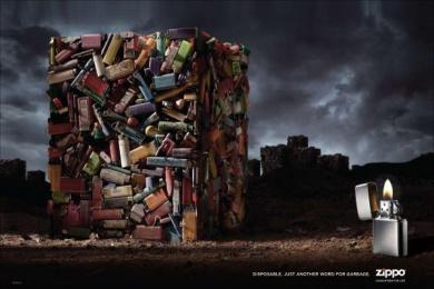 Zippo Pocket Lighter: Garbage Print Ad by Brunner Pittsburgh