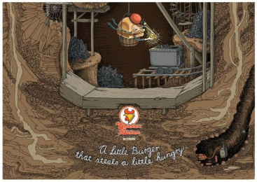 Chicken Licken: A Little Hungry - Mine, Temple, Bank, 5 Print Ad by Joe Public