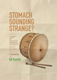 Fortis: Drum - Stomach Print Ad by Grey Mumbai