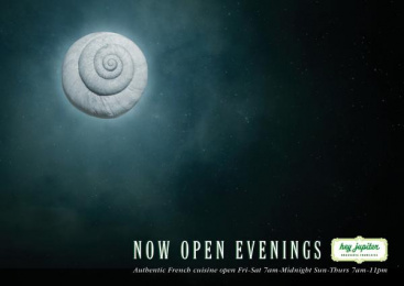 Hey Jupiter: Now Open Evenings Print Ad by Team collaboration