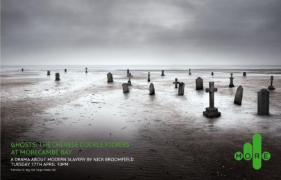 Ghosts Tv Programme: THE CHINESE COCKLE PICKERS AT MORECAMBE BAY Print Ad by 4creative