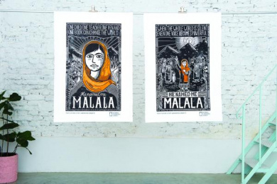 Fox: He Named Malala Woodcut Posters Outdoor Advert by Fox Creative