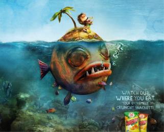 crunchy Snacketti: Fish island Print Ad by Advico Y&R Zurich