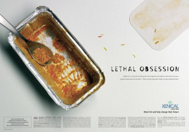Xenical Weight Loss Drug: Curry Tin Print Ad by Paling Walters London
