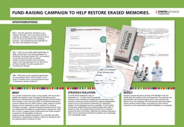 Foundation Synapsis – Alzheimer Research Switzerland: Fund-Raising Campaign to Help Restore Erased Memories. Print Ad by Agentur Am Flughafen Zurich