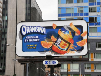 Orangina: Now Served In Cans Outdoor Advert by Encyclomedia Networks, Toronto
