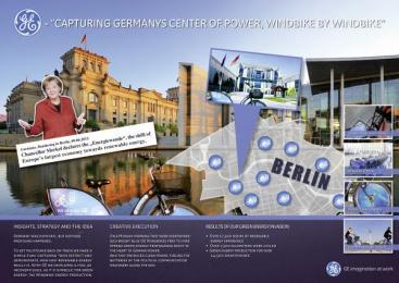 GE: CAPTURING GERMANYS CENTER OF POWER, WINDBIKE BY WINDBIKE Promo / PR Ad by OMD Berlin