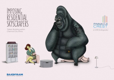 Baashyam Constructions: Tallest Residential Skyscraper in Chennai Print Ad by Chirpy Elephant