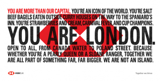 HSBC: We Are Not An Island - You Are London. Outdoor Advert by J. Walter Thompson London, PHD London