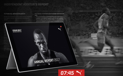 Puma: 9.58 Seconds - The World's Fastest Annual Report, 2 Print Ad by Publicis Pixelpark Hamburg