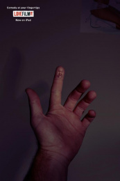 LOVEFiLM: Comedy At Your Fingertips Print Ad by 18 Feet & Rising London