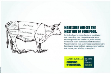 James & Wells: Make sure you get the most out of your food. Print Ad by Barnes, Catmur & Friends Auckland