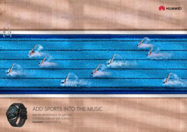 Huawei: Sports Notes - Swim Print Ad by GForce/Grey Almaty