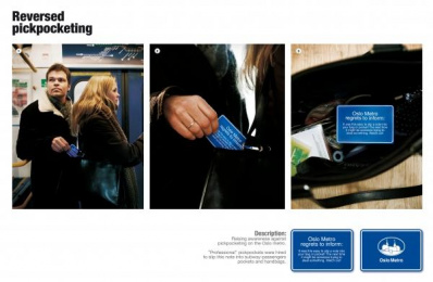 Oslo Metro Pickpocket Awareness: PICKPOCKETING Outdoor Advert by McCann Oslo