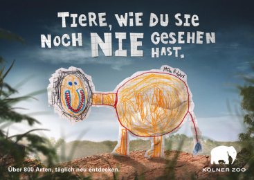 Zoo Cologne: Kids Drawings, 1 Print Ad by Preuss Und Preuss Germany