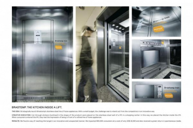 Stainless Steel Appliances: THE KITCHEN INSIDE A LIFT Ambient Advert by DDB Sao Paulo