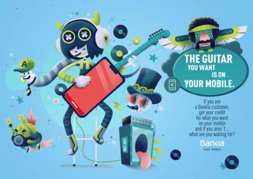 Bankia: The Guitar Print Ad by CLV Madrid, The Mushroom Company
