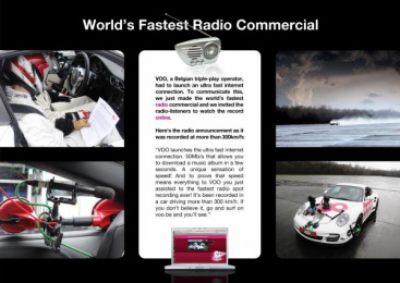 Voo: WORLD'S FASTEST RADIO SPOT Promo / PR Ad by J. Walter Thompson Brussels