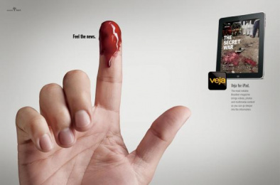 Veja for iPad: Fingers, Blood Print Ad by G2