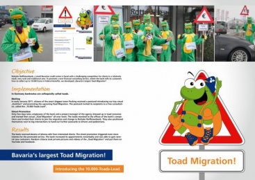 Raiffeisen Bank: BAVARIA'S LARGEST TOAD MIGRATION Promo / PR Ad by FFE Media Medienmarketing