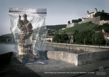 Preservation Of Historic Monuments: OLD BRIDGE WUERZBURG Print Ad by Ogilvy & Mather Frankfurt