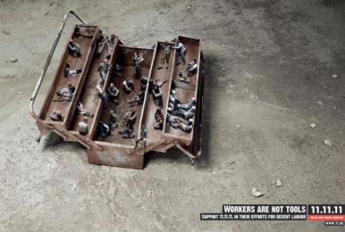 11.11.11: Workers are not tools Print Ad by VVL BBDO Brussels