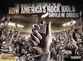 Zippo Pocket Lighter: Rock idols Print Ad by Brunner Pittsburgh