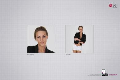 LG: Linkedin vs Tinder Print Ad by Y&R Sao Paulo