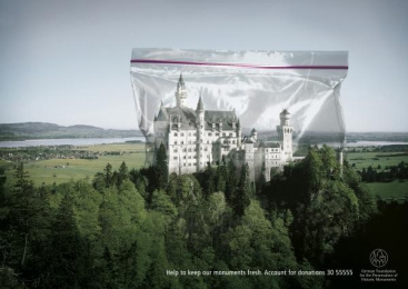 Preservation Of Historic Monuments: NEW SCHWANSTEIN CASTLE Print Ad by Ogilvy & Mather Frankfurt