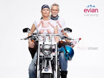 Evian Water: Biker Print Ad by BETC Euro Rscg Paris
