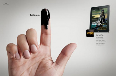 Veja for iPad: Fingers, Oil Print Ad by G2