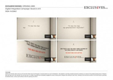 Exclusive Books: Opening Lines, 6 Digital Advert by Thirtyfour