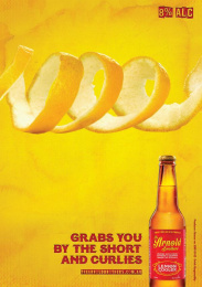 Arnold Brother's Lemon Cooler: Grabs you by the short and curlies Print Ad by Welbourn O'Brien Adelaide