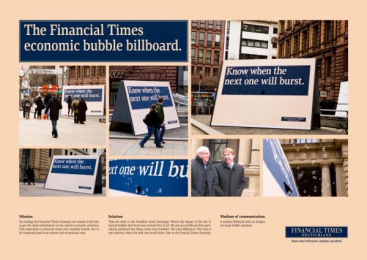 Financial Times Newspaper: FTD BUBBLE Promo / PR Ad by KNSK
