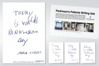 The Israel Parkinson Association: PARKINSON'S PATIENTS WRITING ADS Outdoor Advert by DraftFCB Tel Aviv