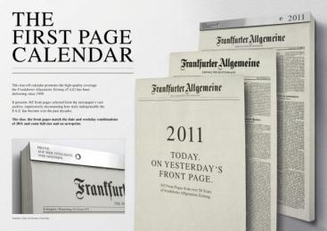 Frankfurter Allgemeine Zeitung: THE FIRST PAGE CALENDAR Design & Branding by Scholz & Friends Berlin
