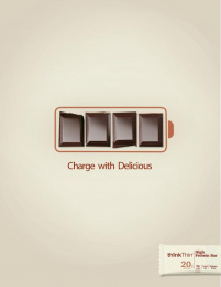 ThinkThin: Charge with Delicious Print Ad by S.I. Newhouse School of Public Communications Syracuse New York