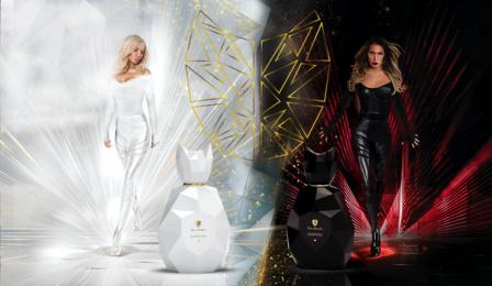 Tonino Lamborghini: Tonino Lamborghini GINEVRA White Angel Vs. Black Panther Print Ad by Desire Fragrances
